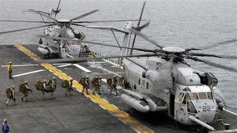 Trực thăng hạng nặng của Hải quân Mỹ gặp nạn