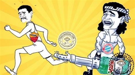 Ảnh chế: Bayern Munich cày nát Olimpico của Roma