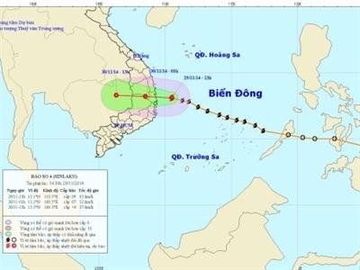 Bão số 4 cách Bình Định - Khánh Hòa khoảng 150km, giật cấp 11