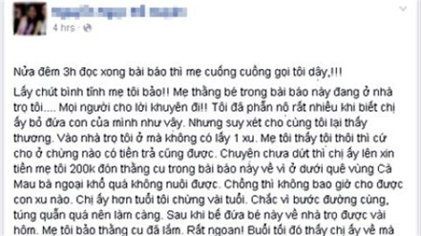 Hé lộ manh mối mẹ bé trai bị bỏ rơi ở taxi