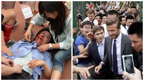 Fan Trung Quốc chen chúc, đổ máu vì Becks
