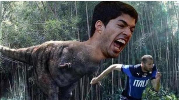 [Ảnh chế] Suarez chờ thịt Chiellini sau trận Real - Juventus