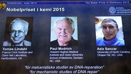 Nhóm tác giả nghiên cứu ADN giành Nobel hóa học 2015