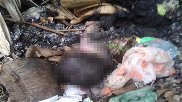 Con mới đẻ tử vong, mẹ đốt phi tang ở bãi rác