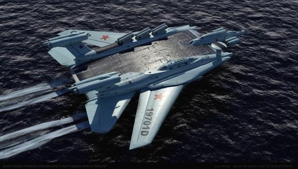 Tàu sân bay hạt nhân khổng lồ Ekranoplan của Liên Xô