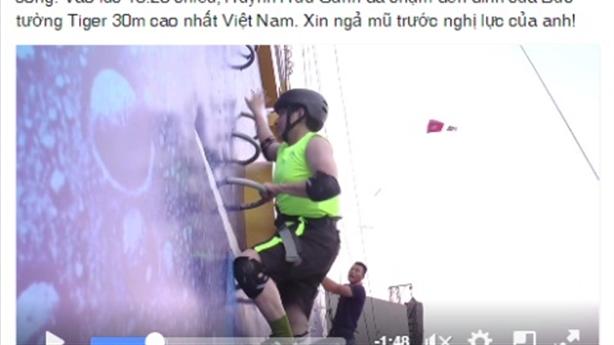 Chàng khiếm thị chinh phục bức tường 30 mét 'gây bão' mạng