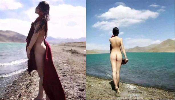 Phẫn nộ thiếu nữ khỏa thân bên hồ thiêng Tây Tạng