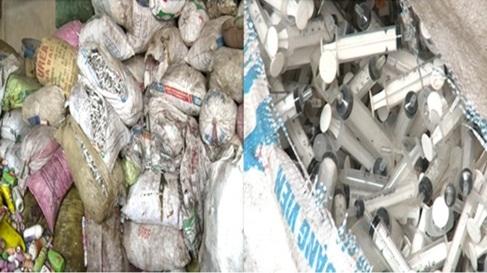 Thái Bình: Phát hiện 100 bao tải bơm kim tiêm dính máu