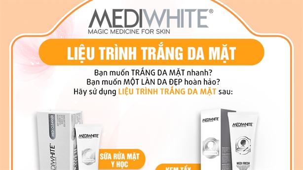 20 ngày da trắng 80%bằng liệu trình làm trắng da Medi White