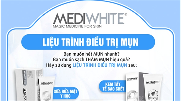 Liệu trình 3 tuần hết mụn hết thâm mụn với Medi White