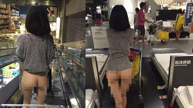 Thiếu nữ đi siêu thị không mặc quần gây sốc