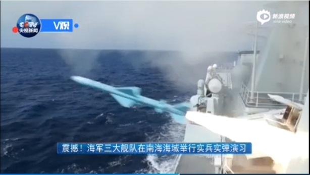Tàu chiến Trung Quốc phóng nhiều tên lửa trên biển Hoàng Sa