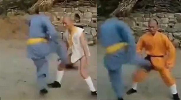 Nhà sư Trung Quốc diễn kungfu luyện sức mạnh 'cậu nhỏ'