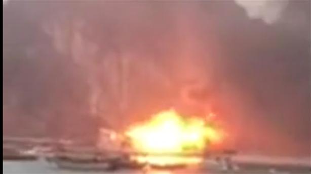 Clip: Tàu chở 14 khách nước ngoài bốc cháy giữa Hạ Long