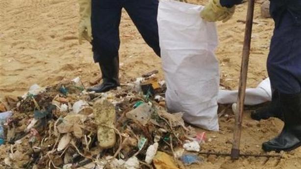 Gom 200 tấn dầu vón cục, rác có chữ Trung Quốc