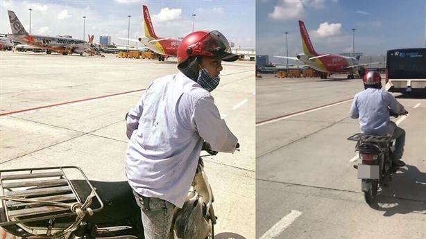 Xe máy vượt rào an ninh vào sân bay Tân Sơn Nhất
