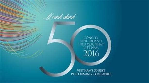 Công bố bảng xếp hạng 50 công ty hiệu quả nhất 2016