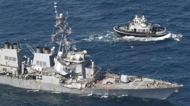 Mỹ đổ lỗi cho nhau khi tàu Aegis bị đâm bẹp dúm