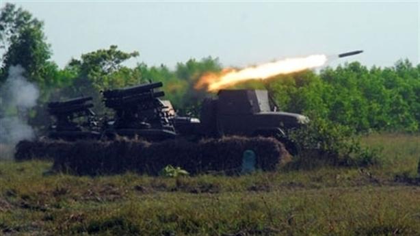 Pháo phản lực Việt Nam nhả đạn trong diễn tập