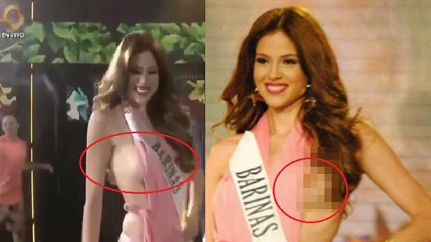 Người đẹp Venezuela lộ ngực vì diễn bốc lửa trên sân khấu