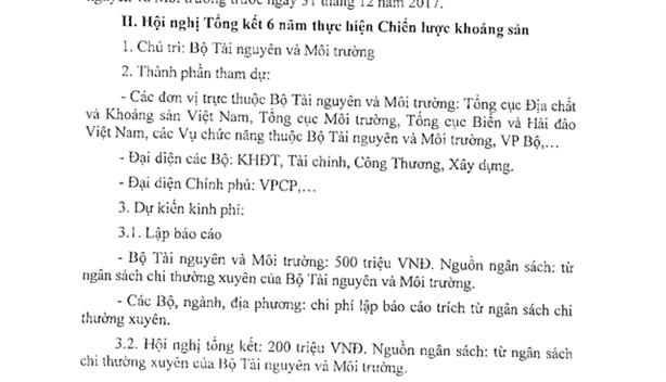 Bộ TN-MT dự chi 700 triệu cho hội nghị khoáng sản