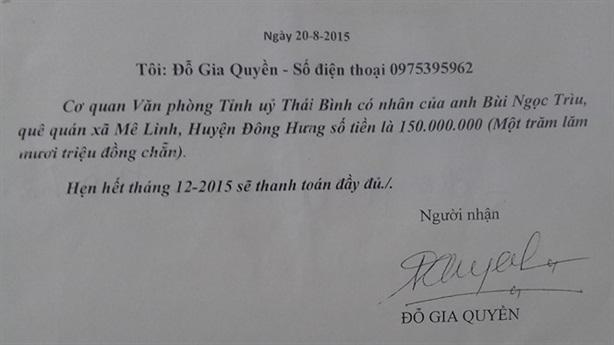 Dấu hiệu lạ vụ cán bộ tỉnh ủy Thái Bình mất tích