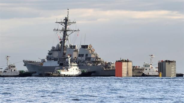 Tàu Fitzgerald bị đâm tan nát khi về Mỹ sửa chữa