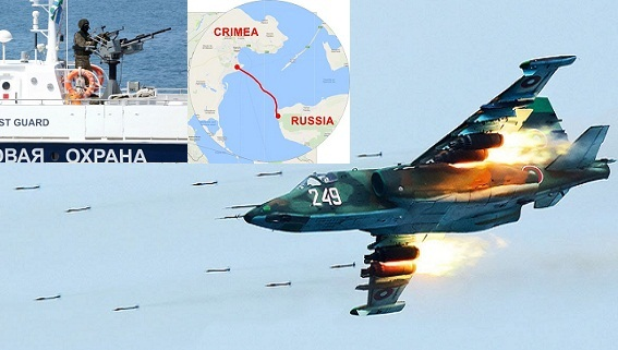 Xung đột biển Azov: Su-25, tàu chiến Nga đóng eo biển Kerch