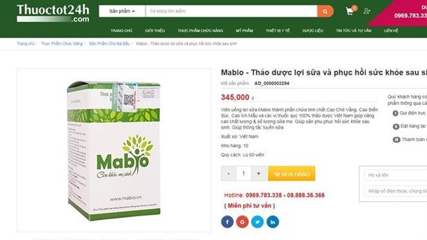 Mua viên uống lợi sữa MABIO trên website giả