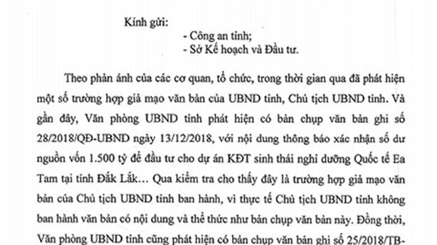 Chủ tịch tỉnh lên tiếng vụ giả chữ kí dự án 1.500tỷ