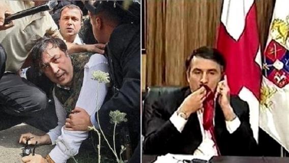 Saakashvili giải thích lý do nhai cà vạt năm 2008