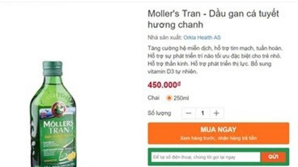 Cẩn trọng mua Dầu gan cá Moller's tran sitronsmak
