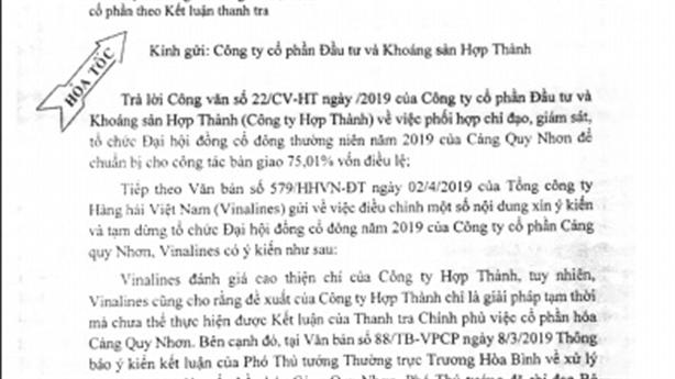 Đề nghị chuyển giao cổ phần Cảng Quy Nhơn trong tháng 4/2019