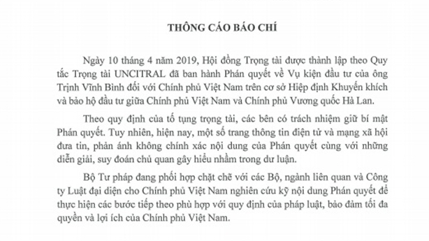 Bộ Tư pháp thông tin vụ ông Trịnh Vĩnh Bình