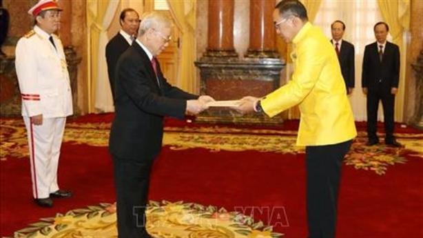 Tổng Bí thư Nguyễn Phú Trọng nhận Quốc thư từ Đại sứ