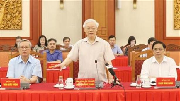 Các nguyên lãnh đạo góp ý dự thảo Báo cáo chính trị