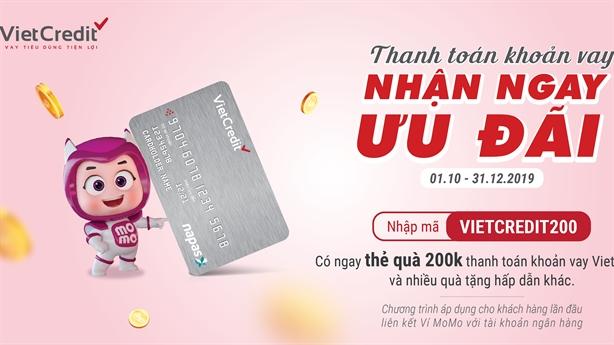 VietCredit tri ân khách hàng với bộ quà thanh toán MoMo