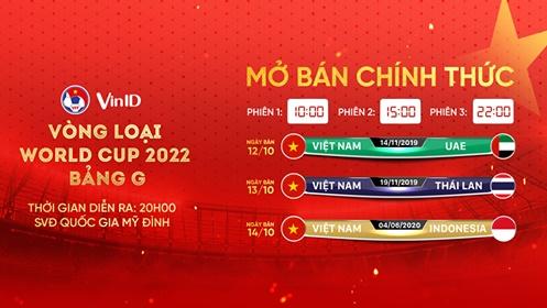 VinID bán vé 3 trận Việt Nam với UAE, Thái Lan, Indonesia