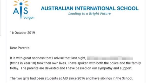 Hai học sinh trường Quốc tế Australia quyên sinh