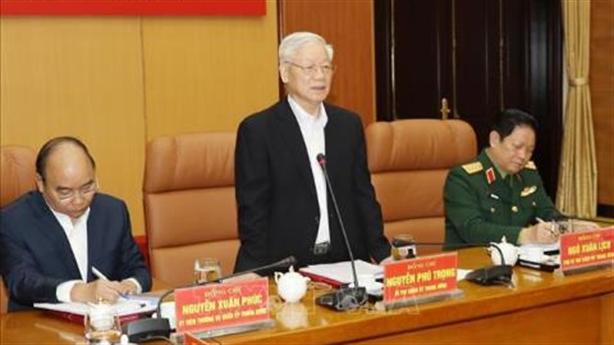 Tổng Bí thư Nguyễn Phú Trọng chủ trì họp Quân ủy TƯ