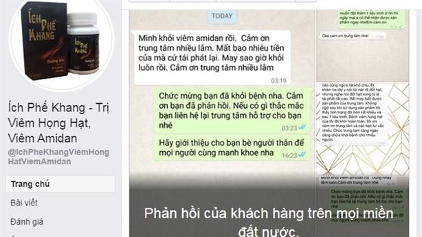 Quảng cáo Ích Phế Khang trên Facebook có thể là lừa dối