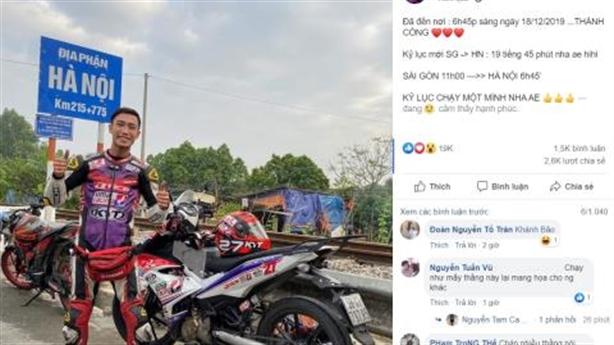 Xôn xao thanh niên đi xe máy xuyên Việt mất 20 giờ