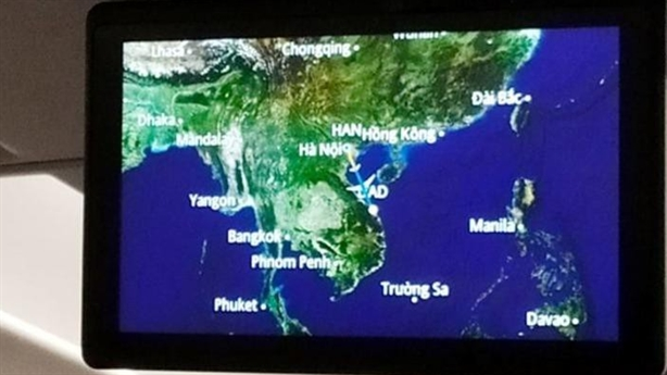 Màn hình quảng cáo của Vietnam Airlines thiếu quần đảo Hoàng Sa?