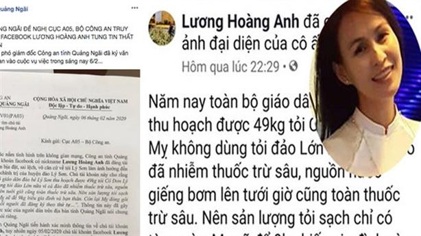 Truy tìm chủ facebook đưa tin sai về tỏi Lý Sơn
