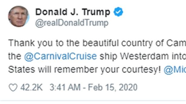 Ông Trump cảm ơn Campuchia tiếp nhận du thuyền trong dịch corona