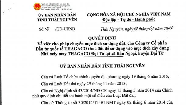 Chuyển đổi gần 26.000m2 đất cho doanh nghiệp: Thái Nguyên nói gì?
