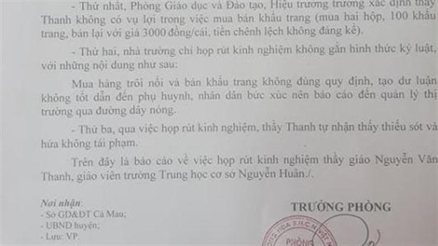 Thầy giáo bán khẩu trang lãi 8.000 đồng: 'Tôi vô tình...'