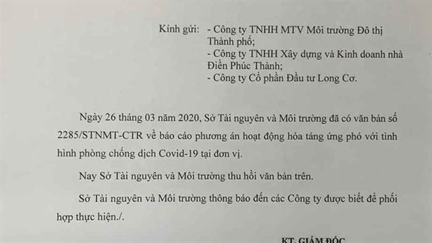 Giám đốc Sở TN-MT TP.HCM nhận trách nhiệm công văn 'hỏa táng'