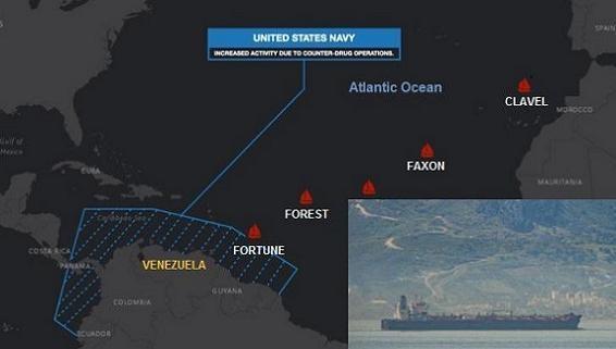 Tàu dầu Iran xuyên vòng vây chiến hạm Mỹ vào EEZ Venezuela