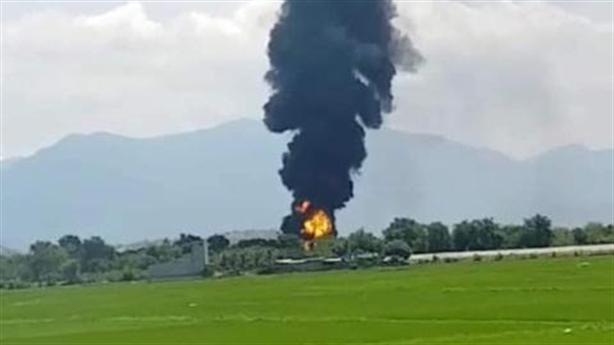 Cháy khu xăng trong sân bay quân sự Thành Sơn